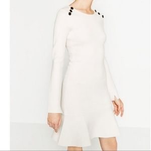 Zara shoulder button knit dress white size medium